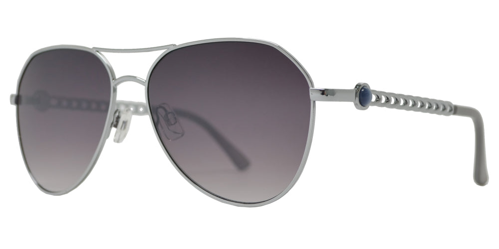 Wholesale - FC 6500 - Designer Oval Shaped Sunglasses with Round Pearls - Dynasol Eyewear