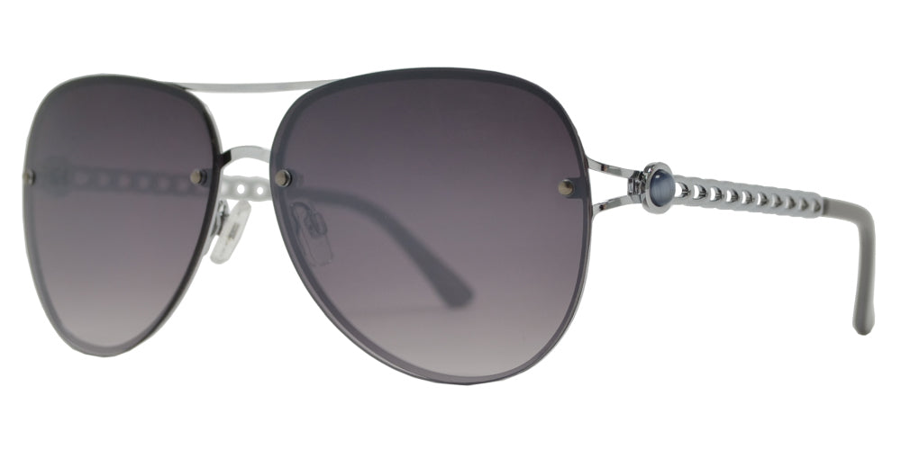 FC 6501 - Rimless Metal Oval Shaped Sunglasses with Pearls