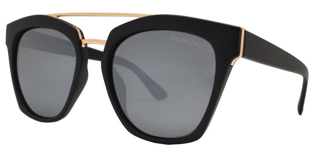 Dynasol Eyewear - Wholesale Sunglasses - PL 3931 - Polarized Horn Rimmed Sunglasses with Brow Bar - sunglasses