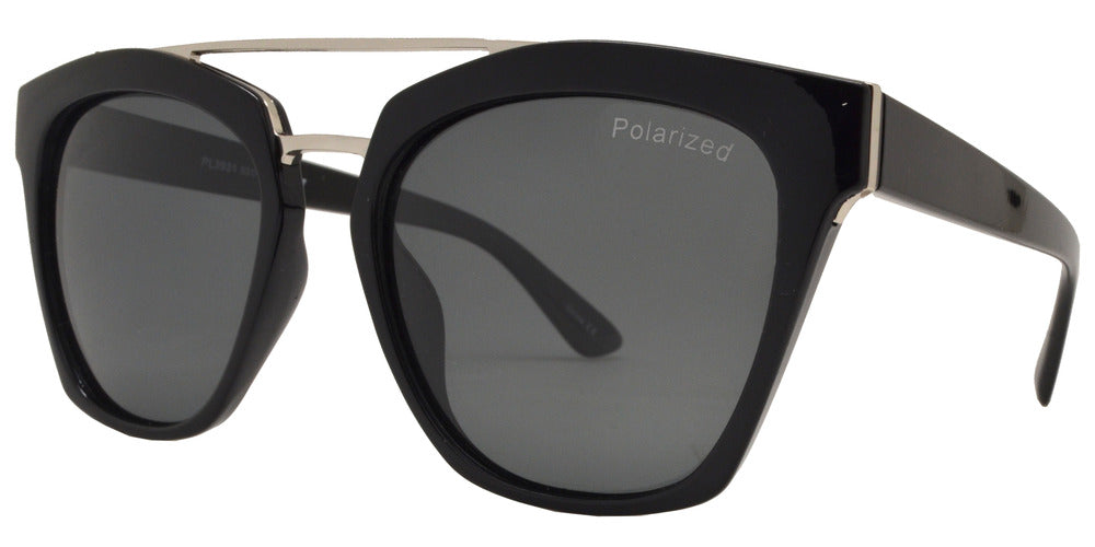 Wholesale - PL 3931 - Polarized Horn Rimmed Sunglasses with Brow Bar - Dynasol Eyewear