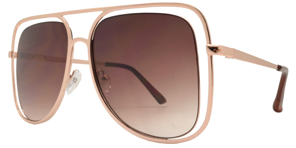 Wholesale - 8753 - Metal Cut Out Oval Shaped Sunglasses - Dynasol Eyewear