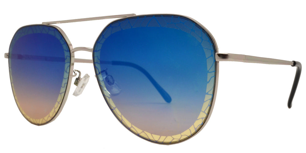 Dynasol Eyewear - Wholesale Sunglasses - FC 6393 - Decorative Slim Aviator with Brow Bar Metal Sunglasses - sunglasses