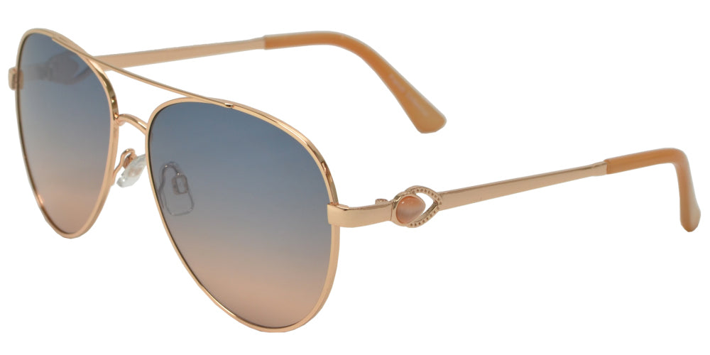 Wholesale - FC 6507 - Oval Shaped Sunglasses with Flat Lens and Tear Drop Pearl - Dynasol Eyewear