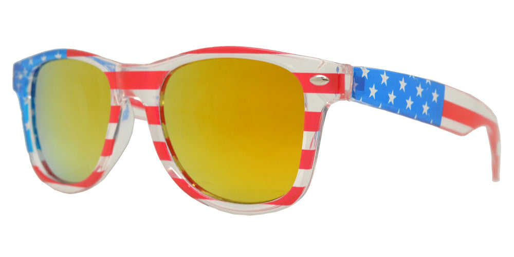 Dynasol Eyewear - Wholesale Sunglasses - 4567 Flag - Kids Classic Horn Rimmed USA Flag Sunglasses - sunglasses