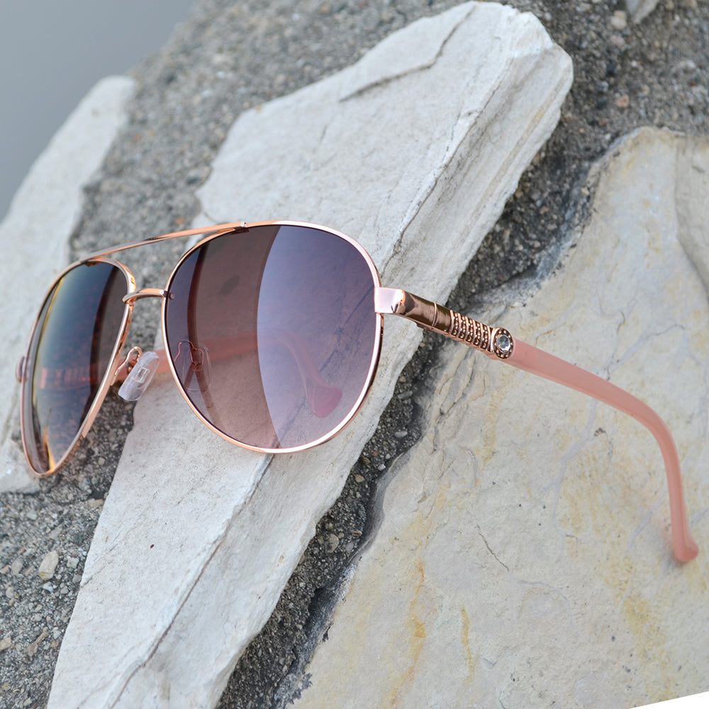 Dynasol Eyewear - Wholesale Sunglasses - FC 6262 - Classic Aviator Rhinestone Accent Women Metal Sunglasses - sunglasses