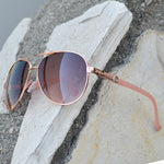 Wholesale - FC 6262 - Classic Aviator Rhinestone Accent Women Metal Sunglasses - Dynasol Eyewear