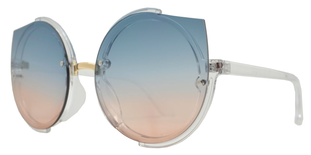 Wholesale - 8814 - Women's Modern Rimless Round Cat Eye Plastic Sunglasses - Dynasol Eyewear