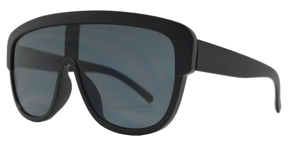 8808 - Large Chunky One Piece Shield Flat Top Plastic Sunglasses