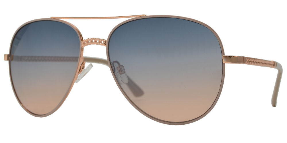 FC 6511 - Chain Link Design Oval Shaped Sunglasses