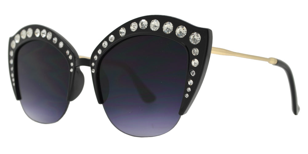 Wholesale - 7980 BX - Half Rimmed Plastic Cat Eye Sunglasses with Flat Lens and Rhinestones - Dynasol Eyewear