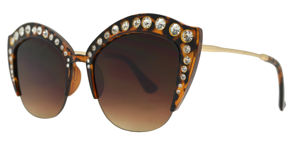 Dynasol Eyewear - Wholesale Sunglasses - 7980 BX - Half Rimmed Plastic Cat Eye Sunglasses with Flat Lens and Rhinestones - sunglasses