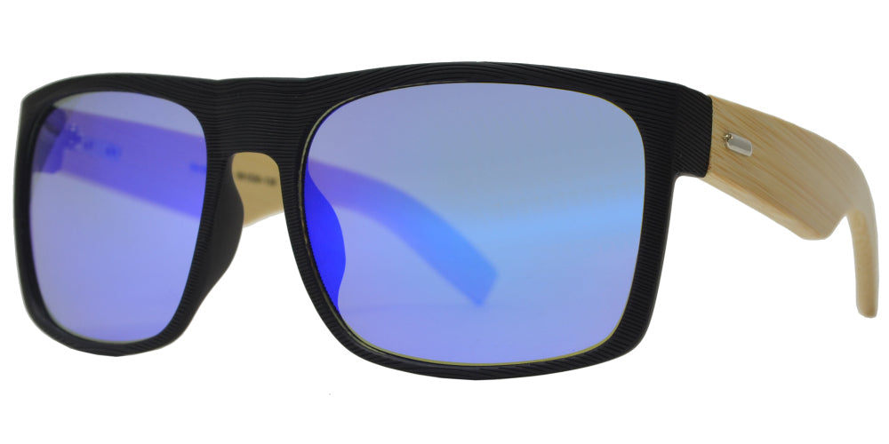 7010 Bamboo - Square Texture Frame Bamboo Temple Sunglasses