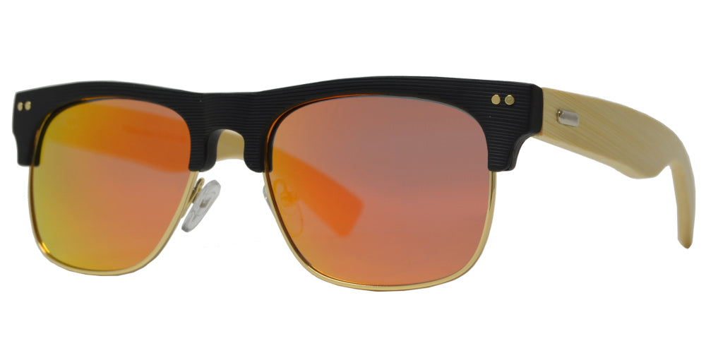 7009 Bamboo - Classic Texture Frame with Bamboo Temple Sunglasses
