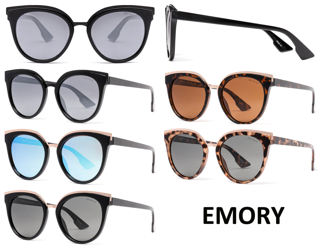 Wholesale - PL Emory - Polarized Women Flat Lens Cat Eye Plastic Sunglasses - Dynasol Eyewear