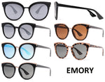 Dynasol Eyewear - Wholesale Sunglasses - PL Emory - Polarized Women Flat Lens Cat Eye Plastic Sunglasses - sunglasses