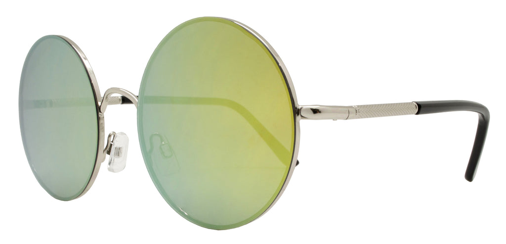 Dynasol Eyewear - Wholesale Sunglasses - FC 6228 RVC - Round Flat Lens Color Mirror Metal Sunglasses - sunglasses