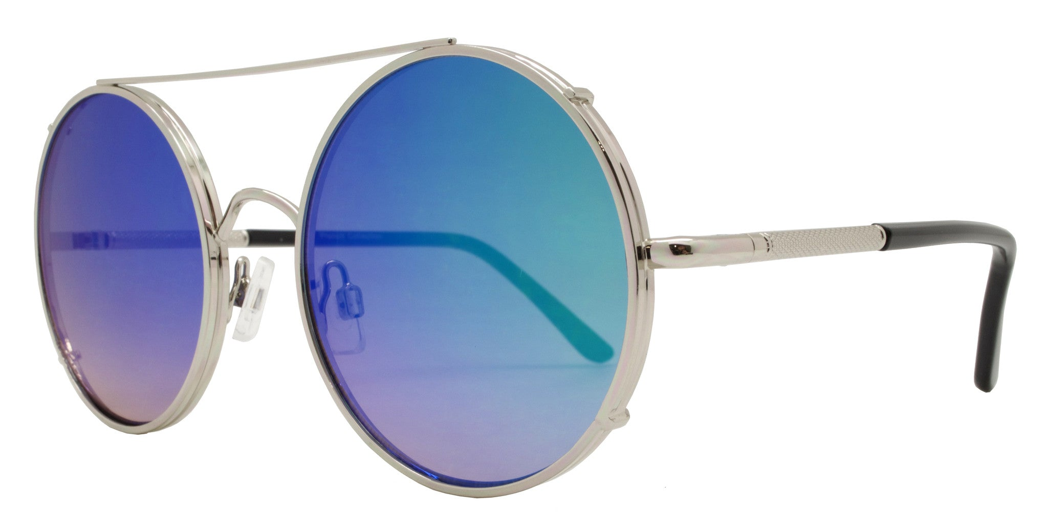Dynasol Eyewear - Wholesale Sunglasses - FC 6229 RVC - Flat Lens Round Color Mirror Thick Metal Sunglasses - sunglasses