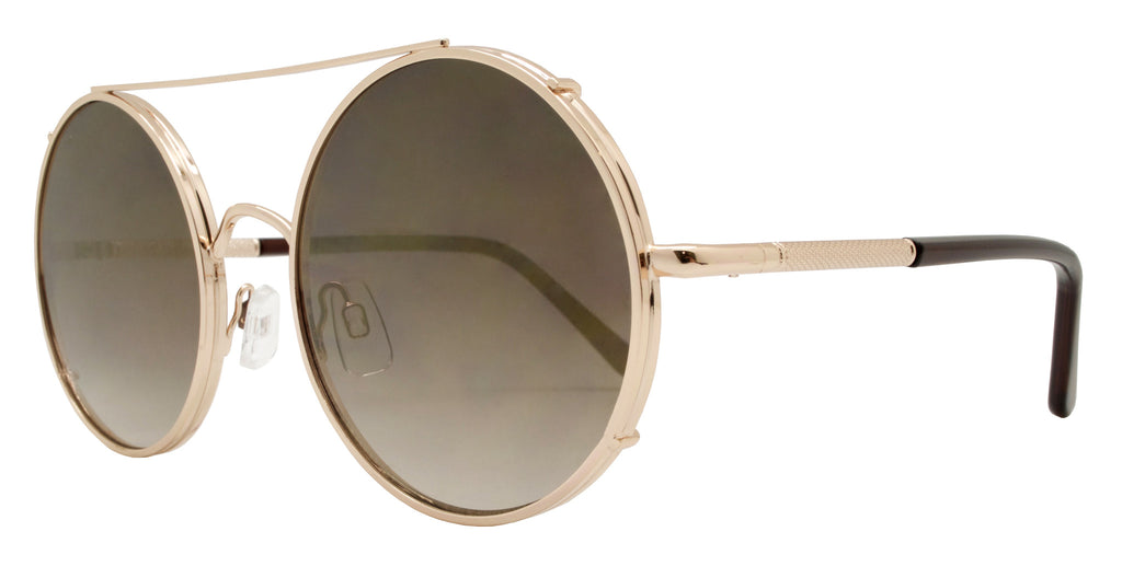 Wholesale - FC 6229 RVC - Flat Lens Round Color Mirror Thick Metal Sunglasses - Dynasol Eyewear