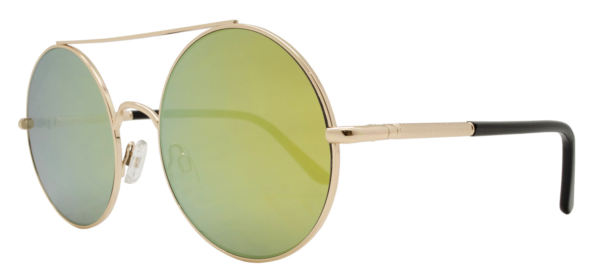 Dynasol Eyewear - Wholesale Sunglasses - FC 6230 RVC- Flat Lens Round Color Mirror Metal Sunglasses - sunglasses