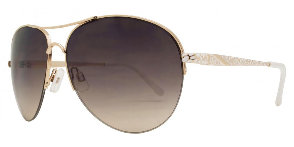 Dynasol Eyewear - Wholesale Sunglasses - FC 6285 - Half Rimmed Aviator Women Metal Sunglasses - sunglasses