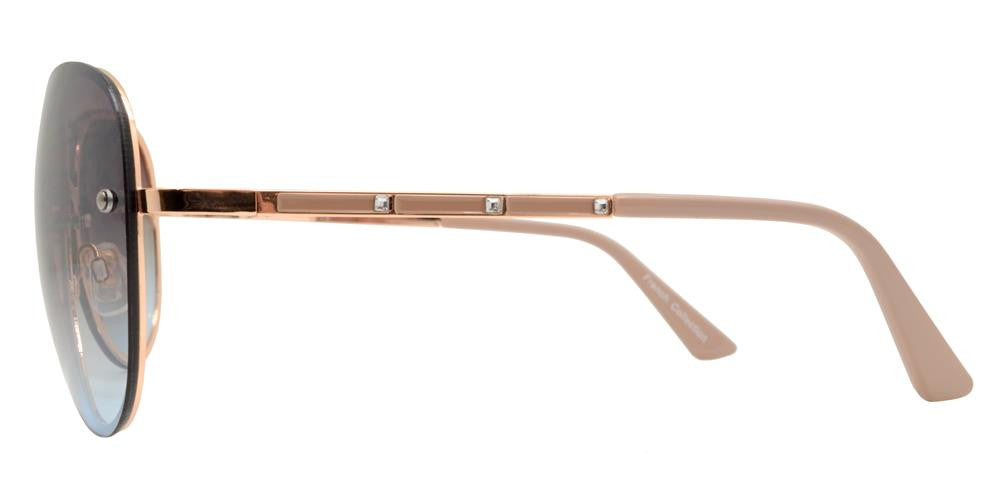 Wholesale - FC 6322 - Rimless Brow Bar Oval Women Metal Sunglasses - Dynasol Eyewear