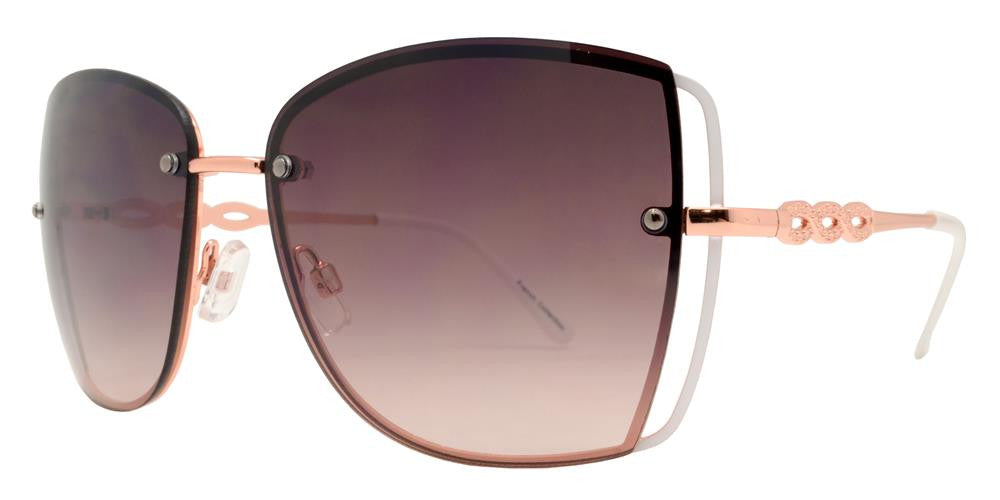 Wholesale - FC 6327 - Rimless Butterfly Women Fashion Metal Sunglasses - Dynasol Eyewear
