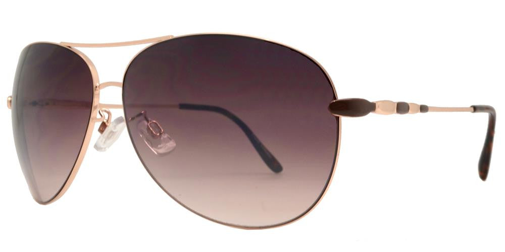 Dynasol Eyewear - Wholesale Sunglasses - FC 6007-Aviator with Brow Bar Women Metal Sunglasses - sunglasses
