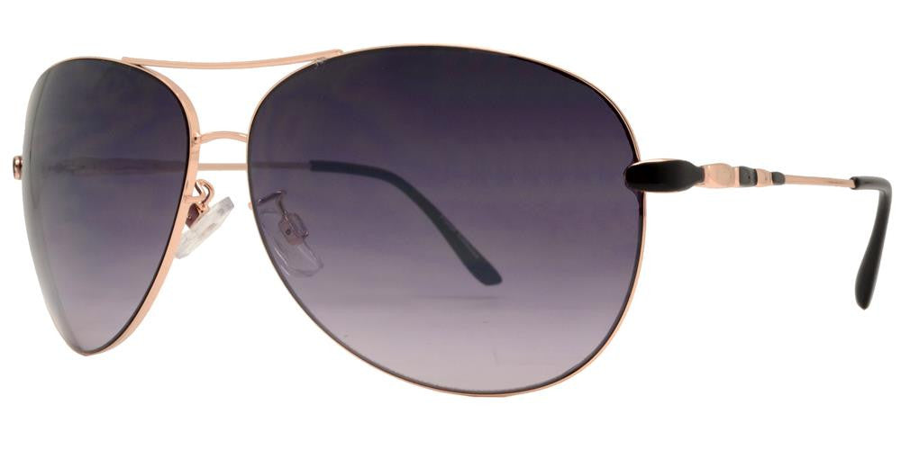 Dynasol Eyewear - Wholesale Sunglasses - FC 6007 - Aviator with Brow Bar Women Metal Sunglasses - sunglasses