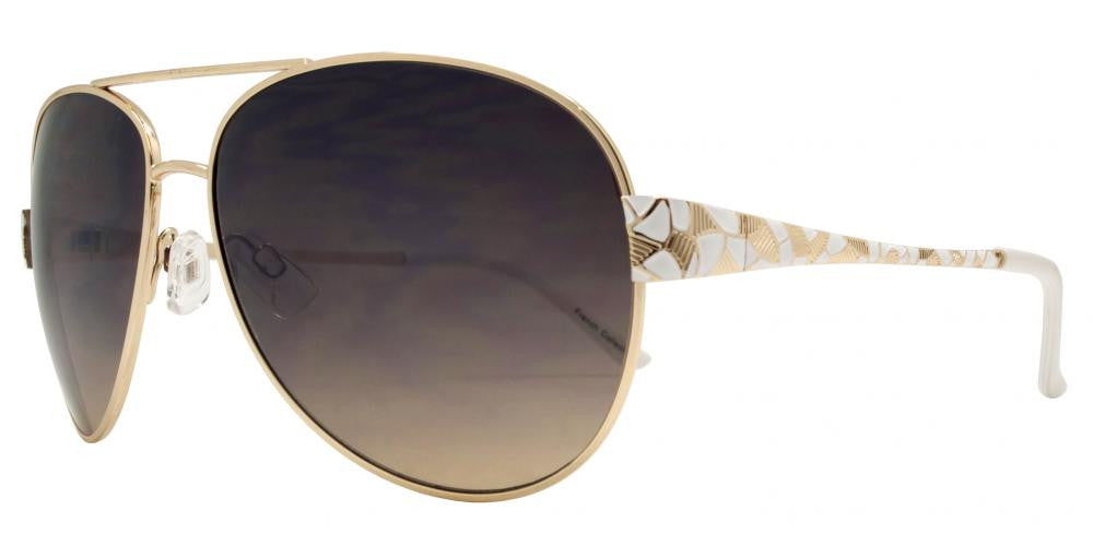 Wholesale - FC 6050 - Women Metal Oval Shaped Sunglasses - Dynasol Eyewear