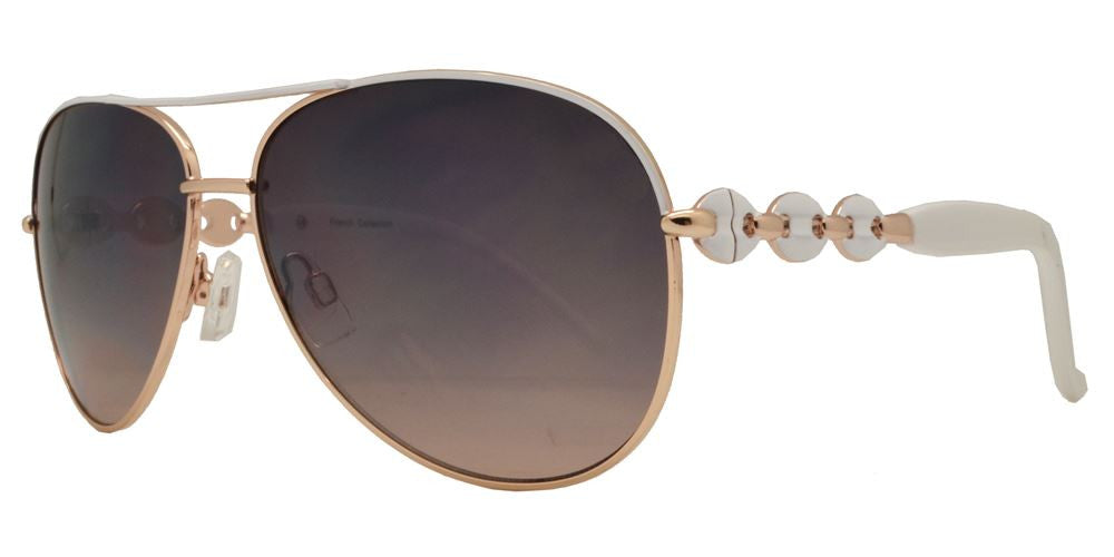 Wholesale - FC 6056 - Metal Oval Shaped Sunglasses with Design on Temple - Dynasol Eyewear