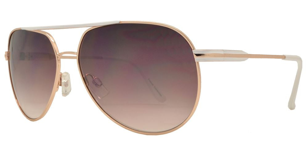 Wholesale - FC 6115 - Retro Brow Bar Oval Shaped Metal Sunglasses - Dynasol Eyewear