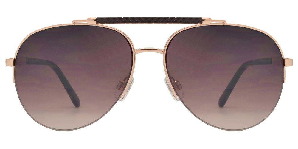 Dynasol Eyewear - Wholesale Sunglasses - FC 6128 - Brow Bar Aviator Half Rimmed Metal Sunglasses - sunglasses