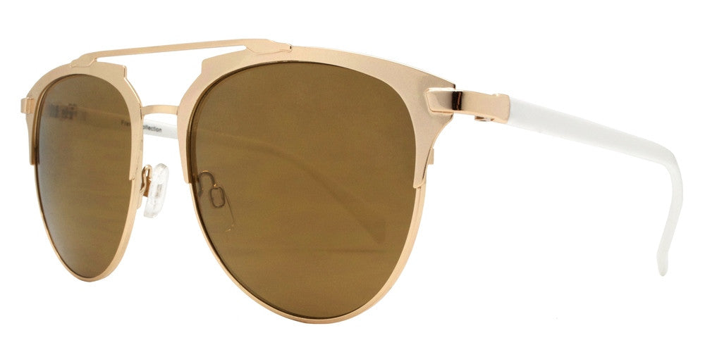 Wholesale - FC 6219 RVC - Color Mirror Brow Bar Retro Oval Metal Sunglasses - Dynasol Eyewear