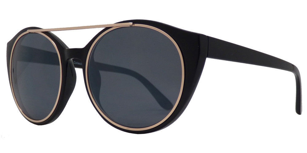 Dynasol Eyewear - Wholesale Sunglasses - FC 6250 - Brow Bar Horn Rimmed Round Plastic Sunglasses - sunglasses