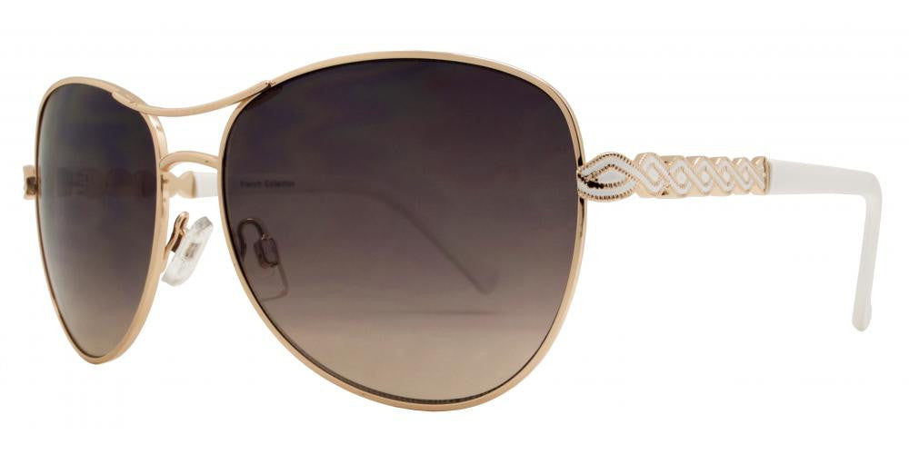 Wholesale - FC 6294 - Aviator with Decorative Temple Women Metal Sunglasses - Dynasol Eyewear