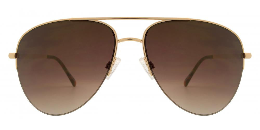 Dynasol Eyewear - Wholesale Sunglasses - FC 6302 - Brow Bar Aviator Half Rimmed Metal Sunglasses - sunglasses