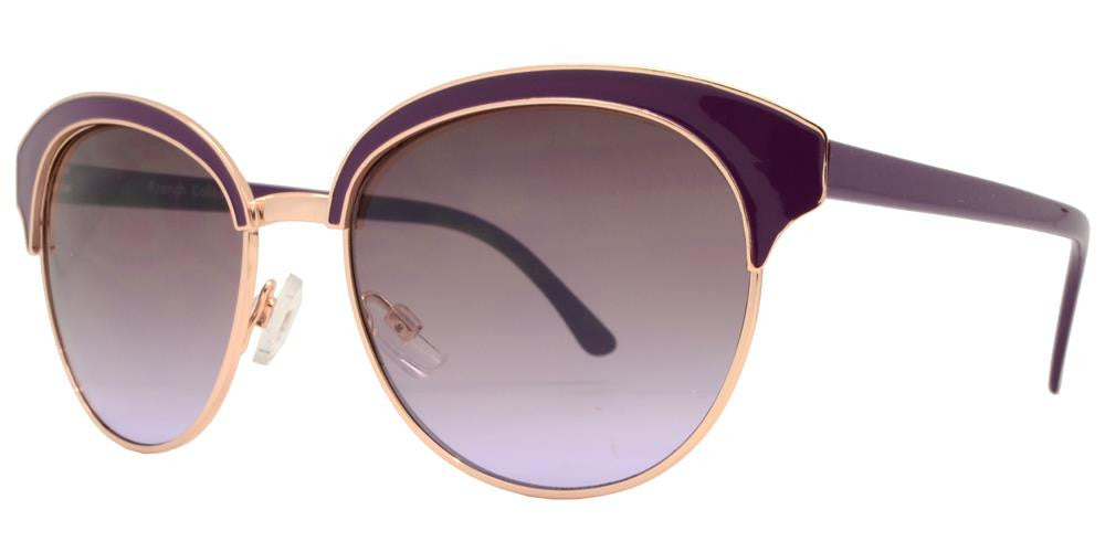 Wholesale - FC 6323 - Horn Rimmed Round Women Metal Sunglasses - Dynasol Eyewear