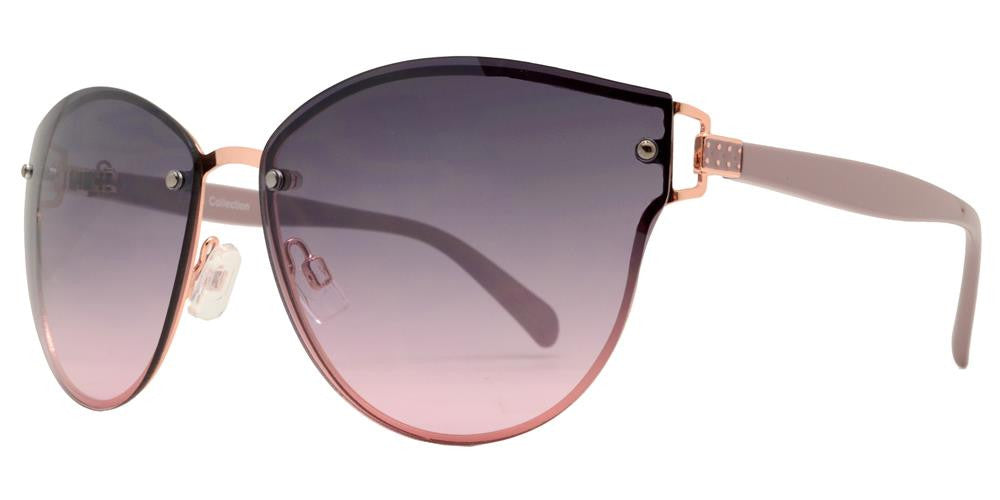 Dynasol Eyewear - Wholesale Sunglasses - FC 6332 - Rimless Horn Rimmed Round Women Metal Sunglasses - sunglasses