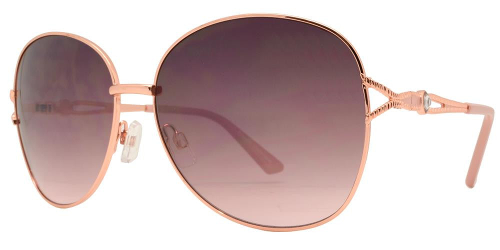 Dynasol Eyewear - Wholesale Sunglasses - FC 6337 - Women Butterfly Rhinestone Accent Metal Sunglasses - sunglasses