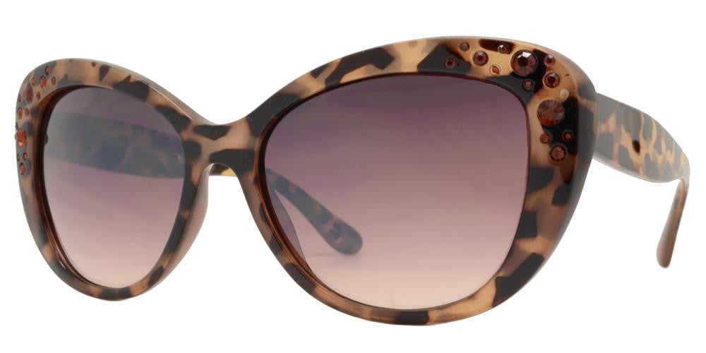 Wholesale - FC 6349 - Cat Eye Rhinestone Women Plastic Sunglasses - Dynasol Eyewear