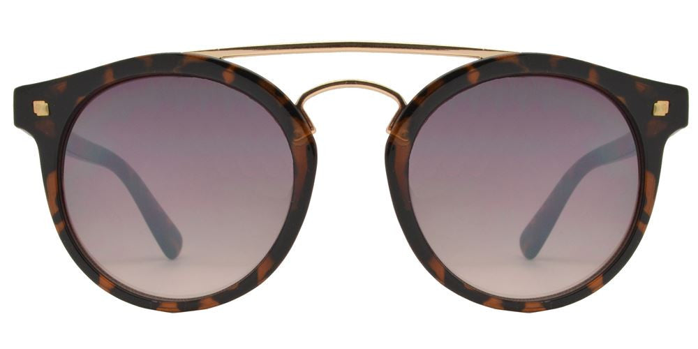 Dynasol Eyewear - Wholesale Sunglasses - FC 6360 - Retro Round with Brow Bar Plastic Sunglasses - sunglasses