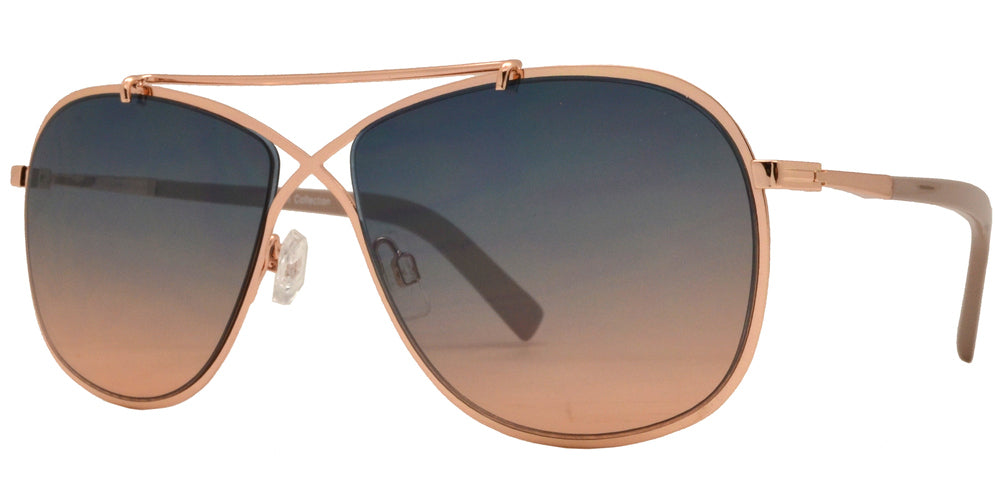 Wholesale - FC 6364 - Crossover Aviator with Brow Bar Metal Sunglasses - Dynasol Eyewear