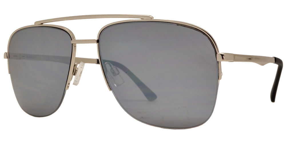 Dynasol Eyewear - Wholesale Sunglasses - FC 6370 - Half Rimmed Square Aviator Metal Sunglasses - sunglasses