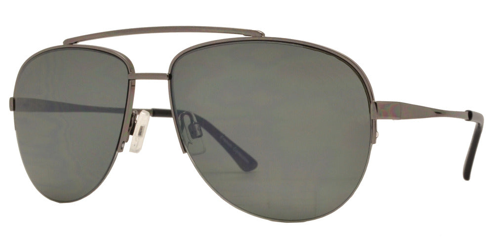 Dynasol Eyewear - Wholesale Sunglasses - FC 6371 - Half Rimmed Brow Bar Aviator Metal Sunglasses - sunglasses