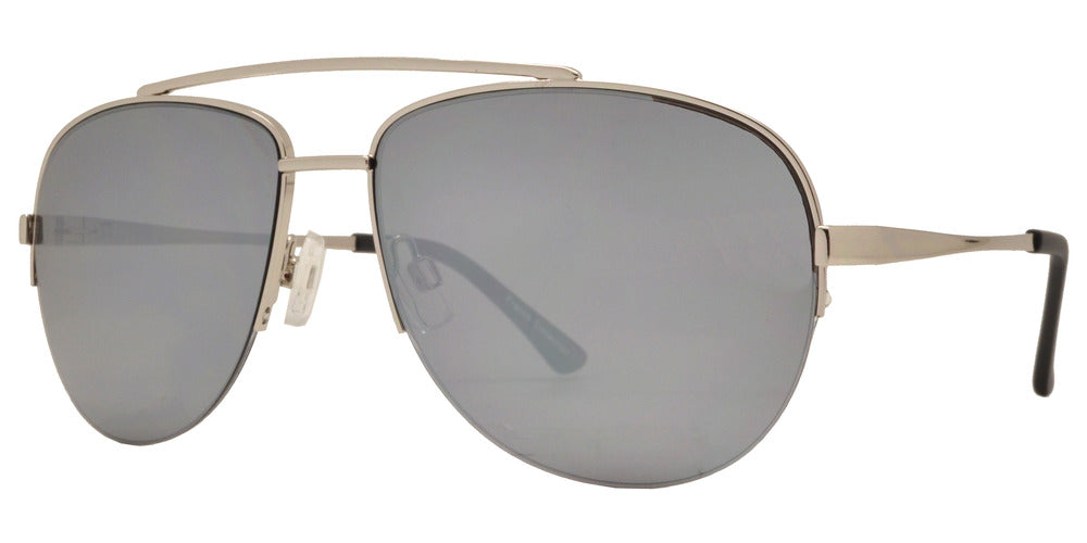 Wholesale - FC 6371 - Half Rimmed Brow Bar Aviator Metal Sunglasses - Dynasol Eyewear