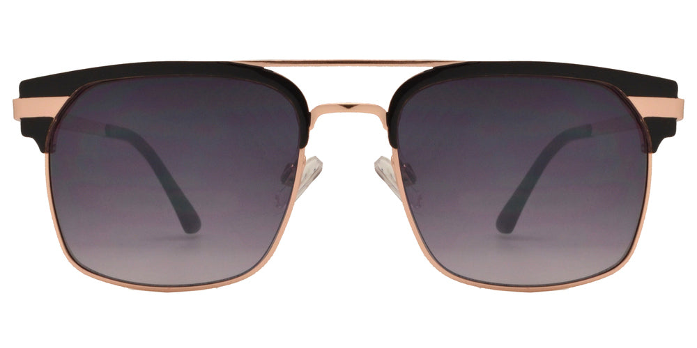 Dynasol Eyewear - Wholesale Sunglasses - FC 6375 - Rectangular Horn Rimmed Brow Bar Metal Sunglasses - sunglasses