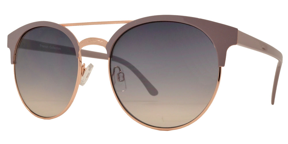 Dynasol Eyewear - Wholesale Sunglasses - FC 6377 - Retro Round Horned Rimmed with Brow Bar Metal Sunglasses - sunglasses