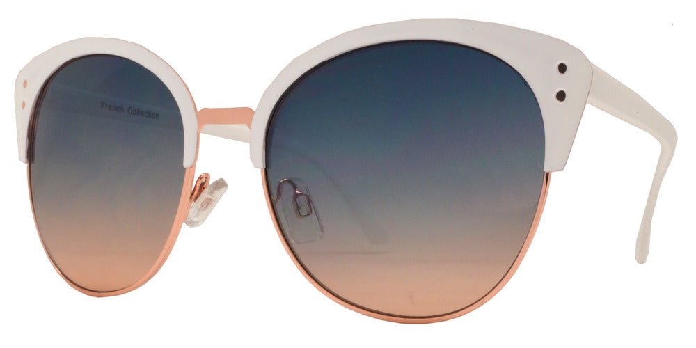 Dynasol Eyewear - Wholesale Sunglasses - FC 6378 - Half Rimmed Round Cat Eye Women Metal Sunglasses - sunglasses