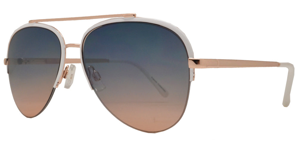 Wholesale - FC 6381 - Half Rimmed Brow Bar Aviator Metal Sunglasses - Dynasol Eyewear