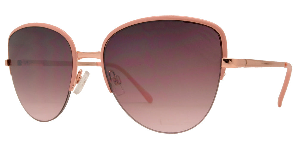 Wholesale - FC 6382 - Half Rimmed Cat Eye Women Metal Sunglasses - Dynasol Eyewear